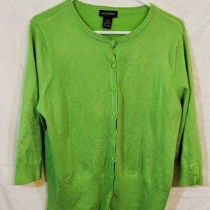 Green 3/4 sleeve Lane Bryant button-up cardigan